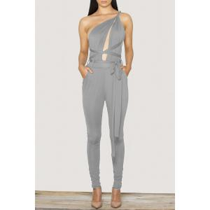 Stylish Plunging Neck Sleeveless Solid Color Open Back Tie-Up Women's Jumpsuit