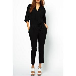 Casual V-Neck 3/4 Sleeve Pocket Design Narrow Feet Women's Black Jumpsuit
