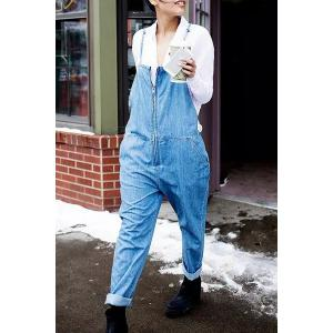 Stylish Bleach Wash Pocket Design Zippered Women's Overalls - Light Blue - L