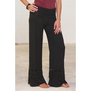 Casual High-Waisted Solid Color Wide Leg Lace Spliced Women's Pants