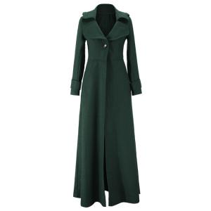 Stylish Lapel Long Sleeve One Button Women's Faux Wool Coat - BLACKISH GREEN L
