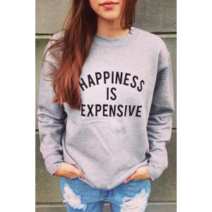 Casual Style Round Neck Long Sleeve Light Gray Women's Sweatshirt