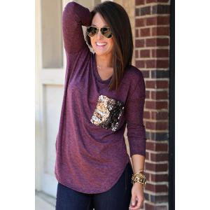 Stylish Scoop Neck Long Sleeve Sequins Pocket Women's T-Shirt