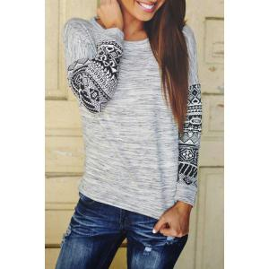 Stylish Scoop Neck Long Sleeve Tribal Pattern Women's T-Shirt - Gray - S