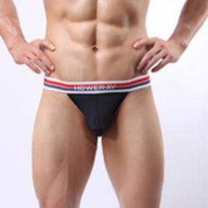 Sexy Comfortable Striped Elastic Waist Letters Print Men's Meryl U Convex Pouch Briefs