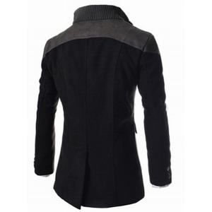 Slimming Stand Collar Inclined Top Fly Color Spliced Flap Pocket Men's Long Sleeves Peacoat -
