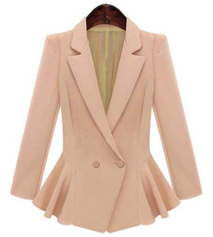 Chic Ladylike Lapel Long Sleeve Solid Color Flounced Blazer For Women