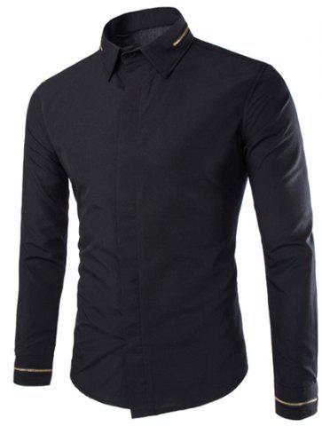 Outfits Fashion Slimming Shirt Collar Simple Solid Color Zipper Design Long Sleeve Polyester Shirt For Men