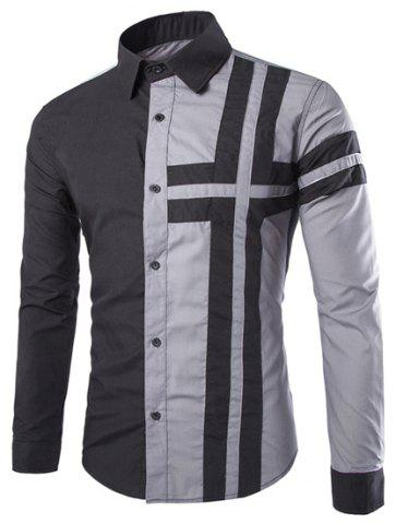 Cheap Trendy Slimming Shirt Collar Color Block Cross Pattern Splicing Long Sleeve Polyester Shirt For Men