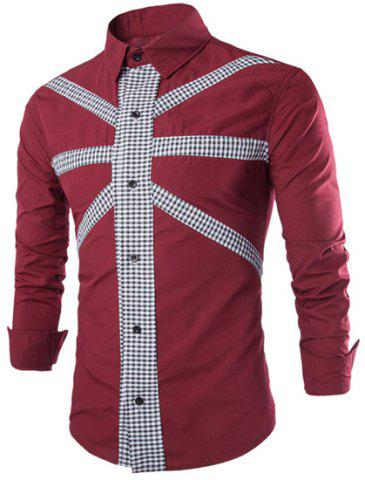 Store Stylish Slimming Shirt Collar Color Block Tiny Checked Splicing Long Sleeve Polyester Shirt For Men