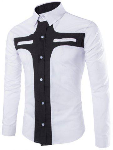 Fashion Slimming Shirt Collar Contrast Color Cross Pattern Long Sleeve Polyester Shirt For Men - WHITE 2XL