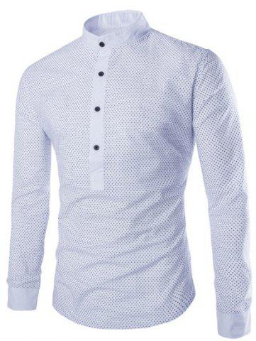 Outfits Fashion Slimming Stand Collar Tiny Polka Dots Print Long Sleeve Polyester Shirt For Men WHITE M
