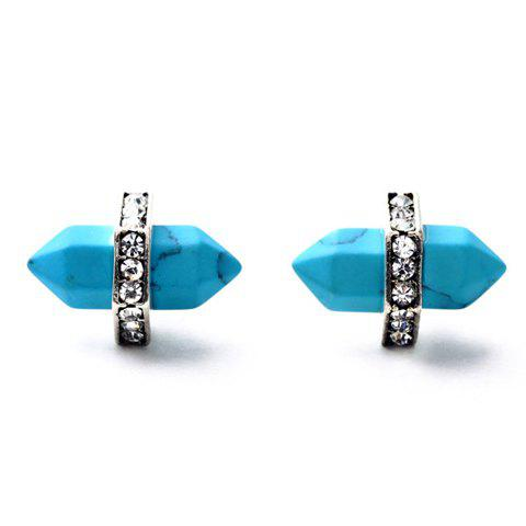 Store Pair of Vintage Bullet Shape Faux Turquoise Earrings