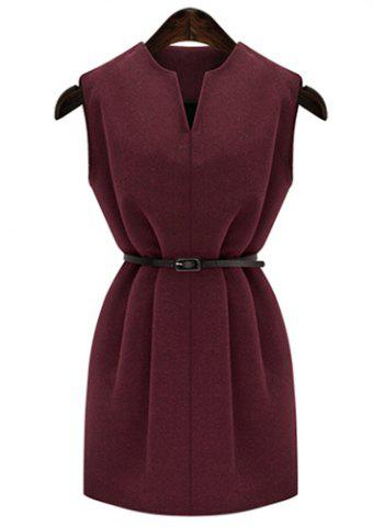 Sale Graceful V-Neck Pure Color Sleeveless Worsted Dress For Women