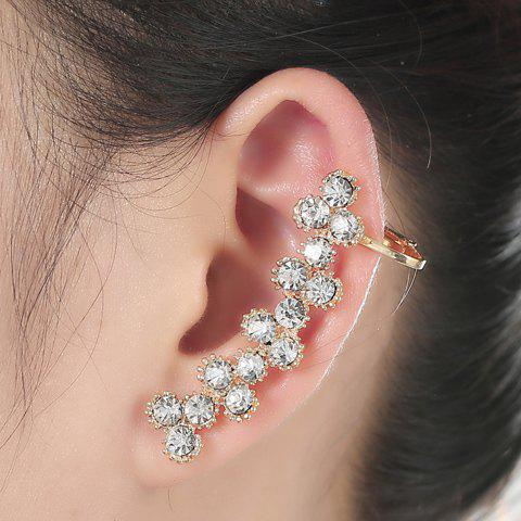 New ONE PIECE Flower Alloy Rhinestoned Ear Cuff WHITE GOLDEN