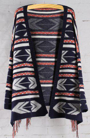 Buy Ethnic Style Collarless Long Sleeve Geometric Pattern Fringed Women's Cardigan ONE SIZE(FIT SIZE XS TO M)