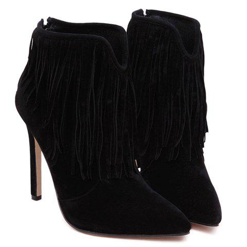 New Sexy Suede and Fringe Design Women's Ankle Boots - 39 BLACK Mobile
