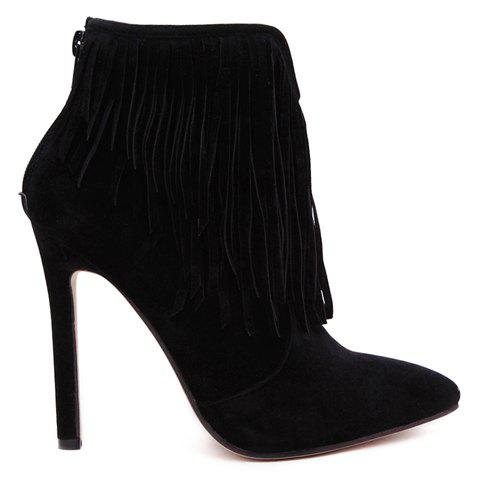 Best Sexy Suede and Fringe Design Women's Ankle Boots - 39 BLACK Mobile