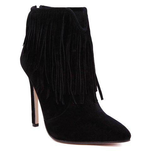 Latest Sexy Suede and Fringe Design Women's Ankle Boots - 39 BLACK Mobile