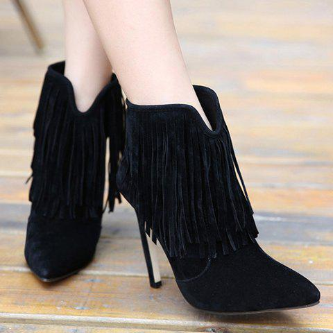 Affordable Sexy Suede and Fringe Design Women's Ankle Boots - 39 BLACK Mobile