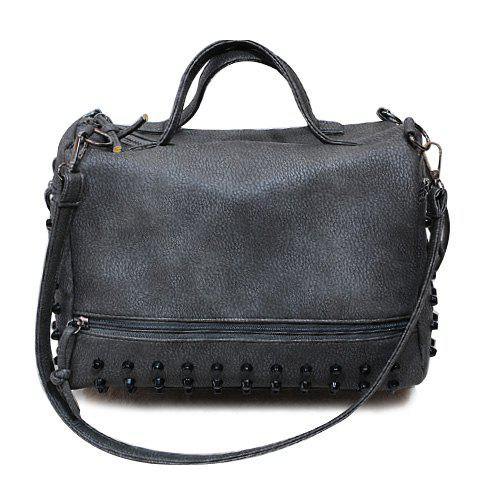 Shops Stylish PU Leather and Rivets Design Solid Color Women's Tote Bag