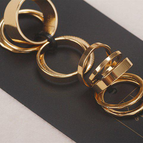Hot 10PCS Chic Solid Color Finger Ring For Women - ONE-SIZE GOLDEN Mobile