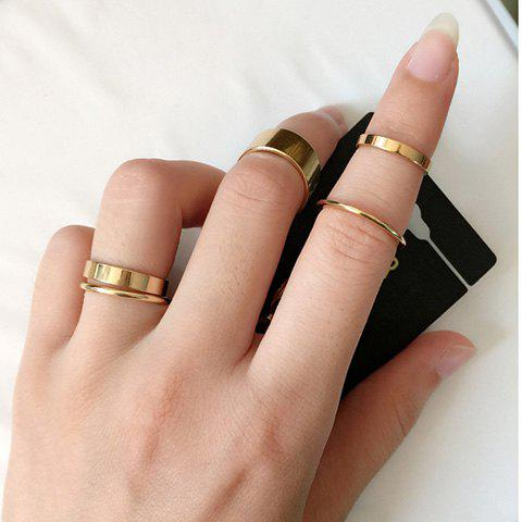 Fancy 10PCS Chic Solid Color Finger Ring For Women GOLDEN ONE-SIZE