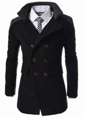 Outfits Slimming Stand Collar Inclined Top Fly Color Spliced Flap Pocket Men's Long Sleeves Peacoat - 2XL BLACK Mobile