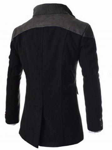 Fancy Slimming Stand Collar Inclined Top Fly Color Spliced Flap Pocket Men's Long Sleeves Peacoat - 2XL BLACK Mobile