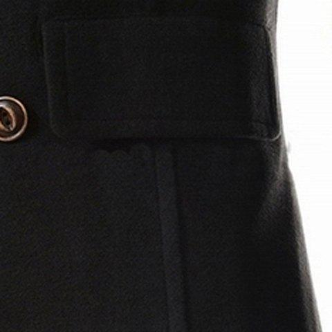 Discount Slimming Stand Collar Inclined Top Fly Color Spliced Flap Pocket Men's Long Sleeves Peacoat - XL BLACK Mobile
