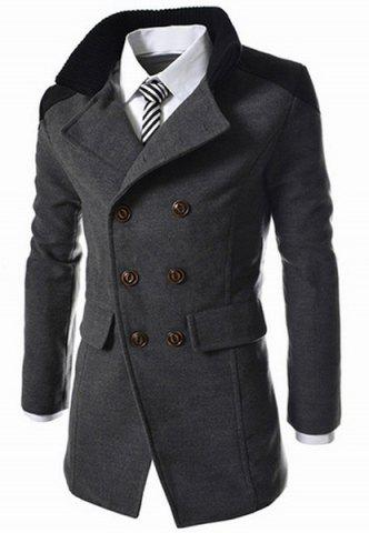 Outfits Slimming Stand Collar Inclined Top Fly Color Spliced Flap Pocket Men's Long Sleeves Peacoat - 2XL GRAY Mobile