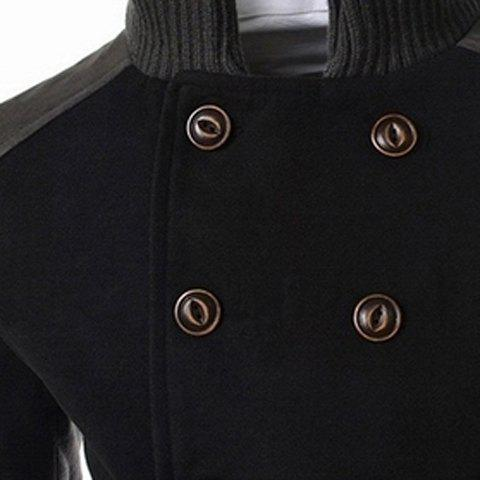 Trendy Slimming Stand Collar Inclined Top Fly Color Spliced Flap Pocket Men's Long Sleeves Peacoat - 2XL BLACK Mobile