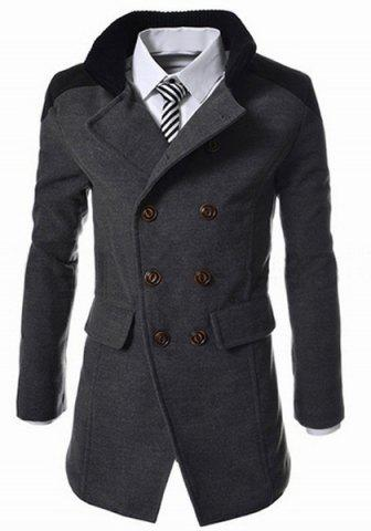 Discount Slimming Stand Collar Inclined Top Fly Color Spliced Flap Pocket Men's Long Sleeves Peacoat - 2XL GRAY Mobile