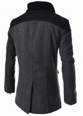 New Slimming Stand Collar Inclined Top Fly Color Spliced Flap Pocket Men's Long Sleeves Peacoat - 2XL GRAY Mobile