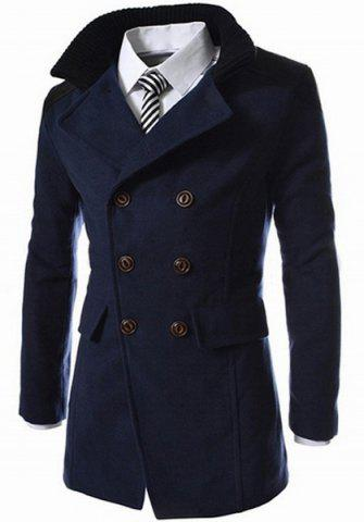 Outfits Slimming Stand Collar Inclined Top Fly Color Spliced Flap Pocket Men's Long Sleeves Peacoat - L CADETBLUE Mobile