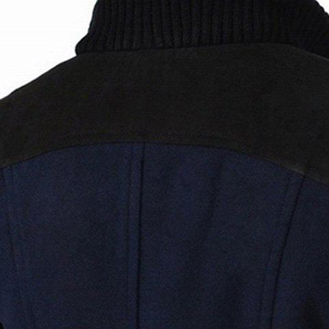 Discount Slimming Stand Collar Inclined Top Fly Color Spliced Flap Pocket Men's Long Sleeves Peacoat - M CADETBLUE Mobile