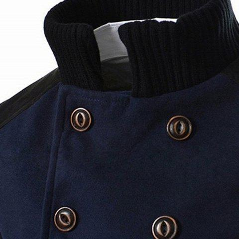 Online Slimming Stand Collar Inclined Top Fly Color Spliced Flap Pocket Men's Long Sleeves Peacoat - M CADETBLUE Mobile