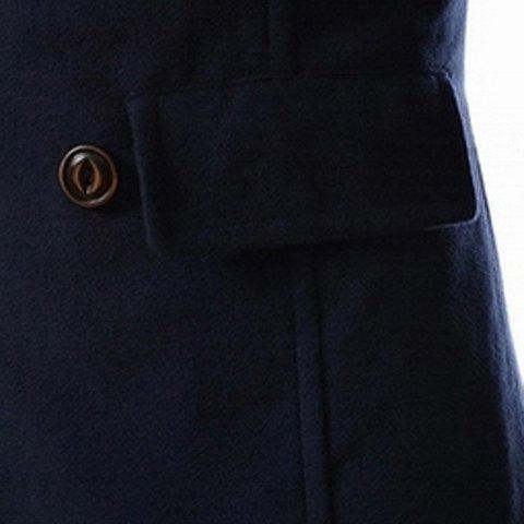 Outfits Slimming Stand Collar Inclined Top Fly Color Spliced Flap Pocket Men's Long Sleeves Peacoat - M CADETBLUE Mobile