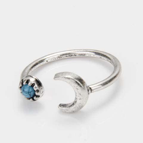 Unique Vintage Faux Turquoise Moon Cuff Ring SILVER ONE-SIZE