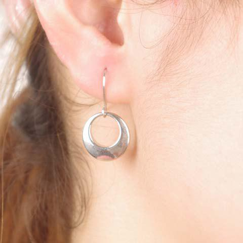 Fancy Pair of Circle Alloy Drop Earrings SILVER