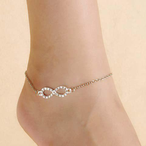 Chic Trendy Rhinestone Infinity Anklet For Women SILVER