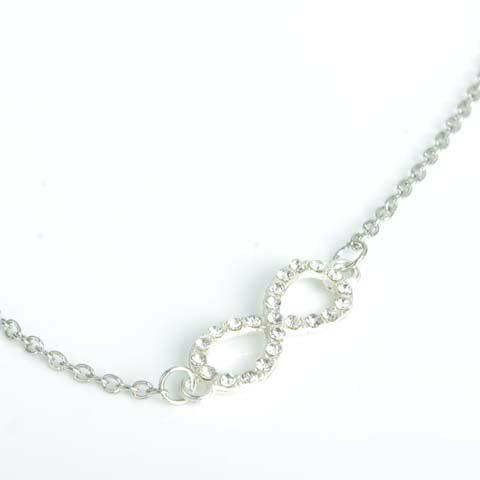 Discount Trendy Rhinestone Infinity Anklet For Women - SILVER  Mobile
