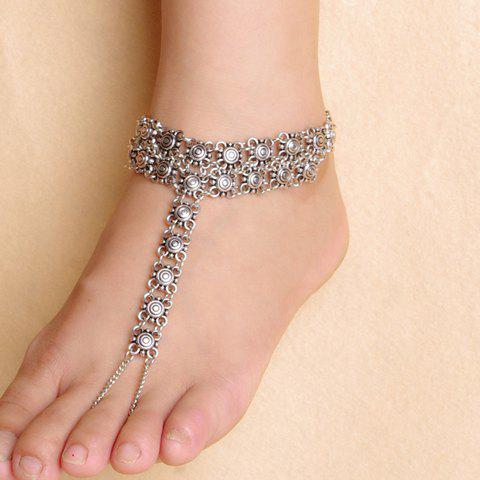 Outfits Vintage Hollow Out Flower Indian Anklet - SILVER  Mobile