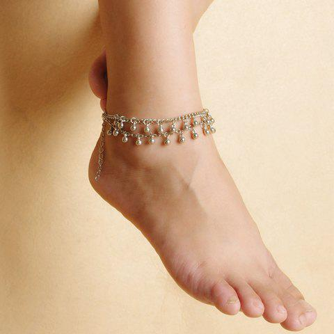 Fancy Vintage Bead Tassel Double-Layer Anklet - SILVER  Mobile