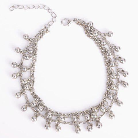Store Vintage Bead Tassel Double-Layer Anklet - SILVER  Mobile