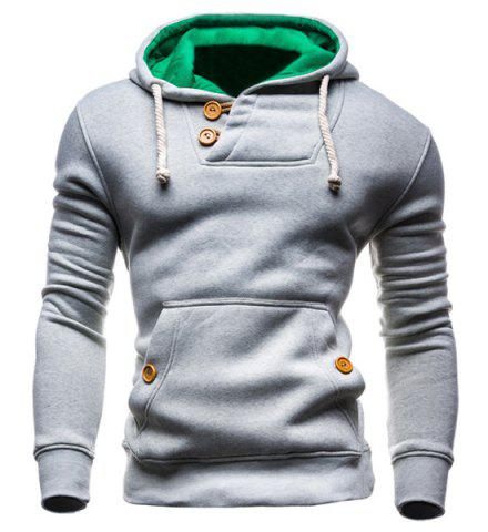 Trendy IZZUMI Slimming Hooded Single-Breasted Front Pocket Applique Design Men's Long Sleeves Hoodie LIGHT GRAY XL