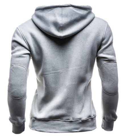Buy IZZUMI Slimming Hooded Single-Breasted Front Pocket Applique Design Men's Long Sleeves Hoodie - XL LIGHT GRAY Mobile