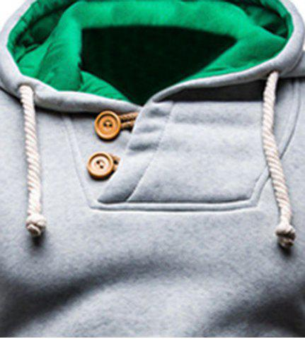 Unique IZZUMI Slimming Hooded Single-Breasted Front Pocket Applique Design Men's Long Sleeves Hoodie - XL LIGHT GRAY Mobile