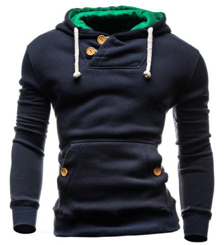 Unique IZZUMI Slimming Hooded Single-Breasted Front Pocket Applique Design Men's Long Sleeves Hoodie