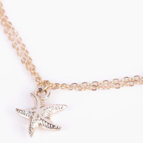 Hot Chic Solid Color Double-Layer Fancy Anklets - GOLDEN  Mobile